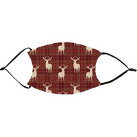 Plaid Deer Christmas Red Face Mask