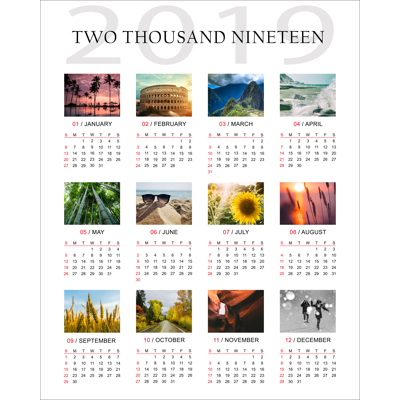16 x 20 Poster Calendar with 12 images