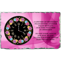 Clock Rose Black Dial Free Design + Text Ornate Theme