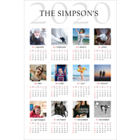 "12 x 18"" (300x450mm)  Photo Calendar with 12 images (on Genuine Photo Paper)"