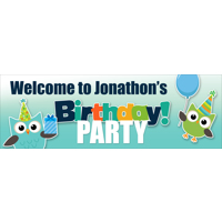 300x900mm Birthday Owl Banner (DL Print)