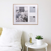 """Harmony Natural White and Beech Wood Effect Photo Frame for 2 Square Photos 4x4"""" & 1 photo 10x8"""""""