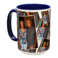 15 oz. Tiled Ceramic Dark Blue Photo Mug