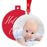Round Metal Ornament - Red