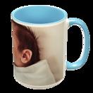 15 oz. Colorful Ceramic Light Blue Photo Mug