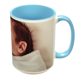 15 oz. Colorful Ceramic Light Blue Photo Mug