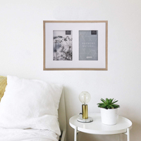"""Harmony Natural White and Beech Wood Effect Photo Frame for 2 4x6"""" / 10x15cm"""