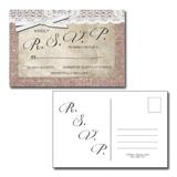 Burlap & Lace 4x6 RSVP Postcard White