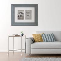 "Bergamo Rustic Grey Wood Photo Frame for 2 4x6"" / 10x15cm"
