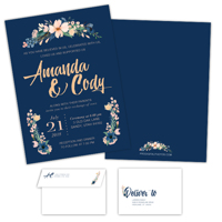 Navy Blooms<br>5x7<br>Double Sided