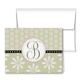 Floral Polka Dot Monogram Note Cards