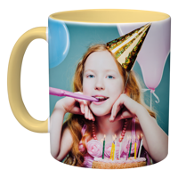 11oz Yellow Handle & Inner Photo Mug