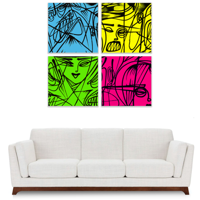 """4 Piece 500x500mm (20x20"""") Collection with 12mm Image Wrap"""