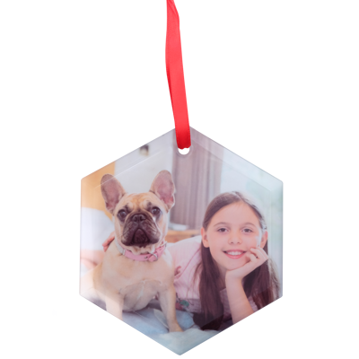 Frosted Glass Hexagon Ornament
