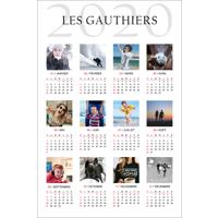 """Affiche d'un calendrier 2020 avec 12 photos (12""""x18"""") - Vertical"""