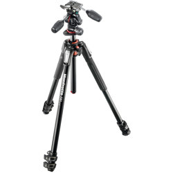 Manfrotto-190 Kit - Aluminum 3 Section Tripod with 3 way Head #MK190XPRO3-3W-Tripods & Monopods
