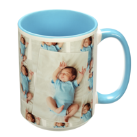 15 oz. Tiled Ceramic Light Blue Photo Mug
