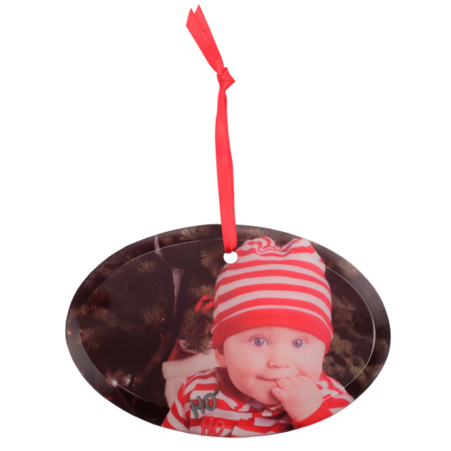 Frosted Glass Oval Ornament