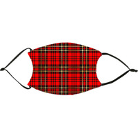 Red Gold Christmas Plaid  Face Mask