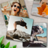 Metal Print Coasters 100x100mm - Set of 4 different images (Silver)