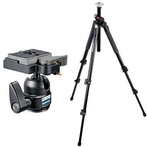 Manfrotto-190XB Alu Tripod BLK with 484RC Mini Ball Head-Tripods & Monopods