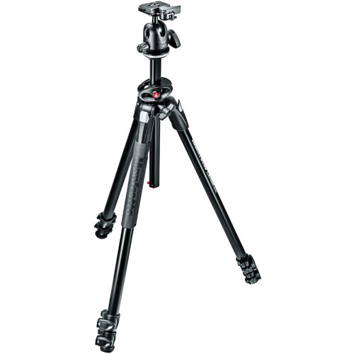 Manfrotto-290 DUAL Kit - 3 Section Aluminum Tripod with 90° Column and Ball Head #MK290DUA3-BH-Tripods & Monopods