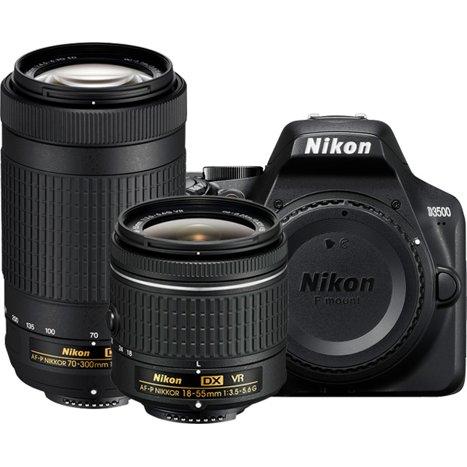 Nikon D3500 Digital SLR Camera with AF-P 18-55mm F3 5-5 6G VR and AF-P  70-300mm F4 5-6 3G ED Lenses