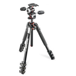 Manfrotto-190 kit - Aluminum 4-section Horizontal Column Tripod with 3 Way Head #MK190XPRO4-3W-Tripods & Monopods