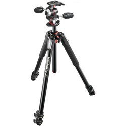Manfrotto-055 Kit - Aluminum 3 Section Horizontal Column Tripod and 3 Way Head #MK055XPRO3-3W-Tripods & Monopods