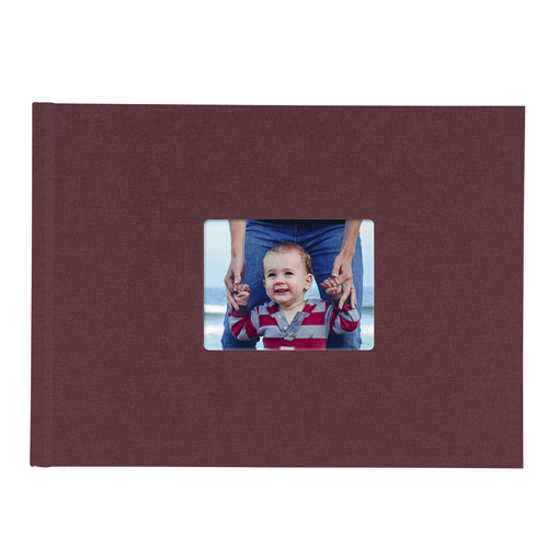 8.5x11 Hardbound Linen Book with Keyhole (Cranberry)