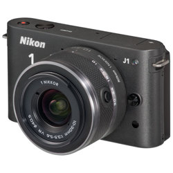 Nikon-1 J1 Compact Interchangeable Lens Camera with 10-30mm VR Lens - Black-Digital Cameras