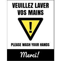 """Autocollant mural Covid-19 jaune (8,5""""x11"""") - Vertical"""