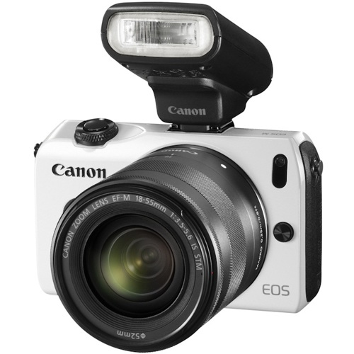 Canon-EOS M - Mirrorless Digital Camera - Special Kit with EF-M 18-55mm STM Lens and Speedlite 90EX - White-Digital Cameras