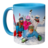11oz Blue Handle & Inner -  Photo Mug - 2 images