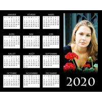 """Affiche d'un calendrier 2020 sur fond noir (10""""x8"""") - Horizontal"""
