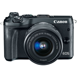 Canon-EOS M6 Interchangeable Lens Camera with EF-M 15-45mm f3.5-6.3 IS STM Lens-Digital Cameras