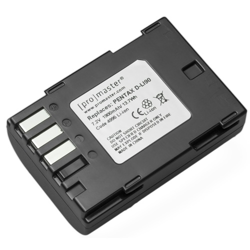 ProMaster-D-LI90 XtraPower Lithium Ion Replacement Battery for Pentax #4995-Battery Packs & Adapters