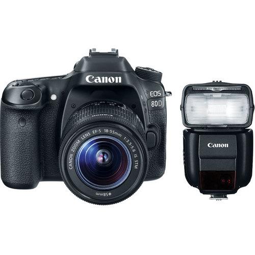 Canon-EOS 80D Digital SLR Camera with EF-S 18-55mm IS STM Lens and Speedlite 430EX III-RT - Black-Digital Cameras