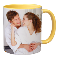 11oz Yellow Handle & Inner Photo Mug - 2 images