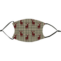 Plaid Deer Christmas Green Face Mask