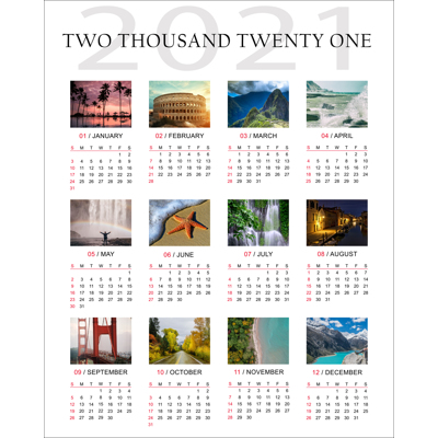 """200x250mm (8 x 10"""") Poster Calender with 12 images"""