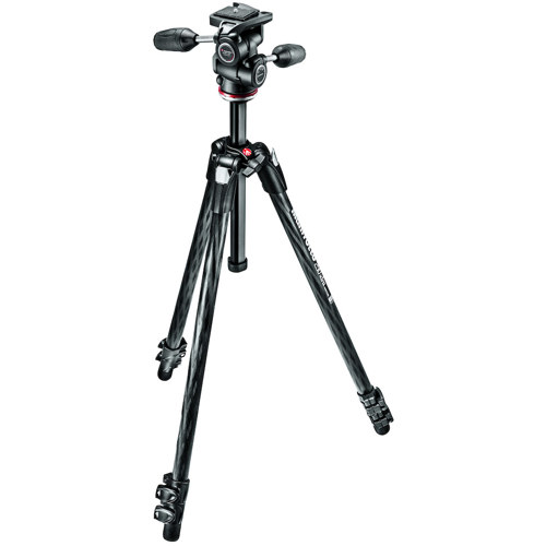 Manfrotto-290 Xtra Carbon Kit - Carbon Fiber 3 Section Tripod with 3W Head #MK290XTC3-3W-Tripods & Monopods