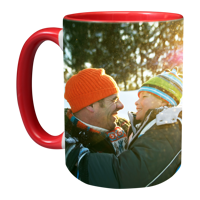 15oz Red Handle Photo Mug - 2 images