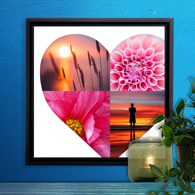 12 x 12 Framed Canvas Heart Collage - 4 photos
