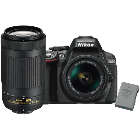 Nikon D5300 two lens bundle Non-VR 18-55mm and 70-300mm with extra EN-EL14A  battery