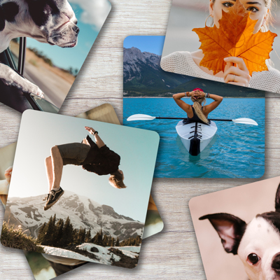 Metal Print Coasters 100x100mm - Set of 6 different images (Silver)