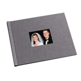 8.5 x 11 (HP) Grey Linen Photo Book with Window