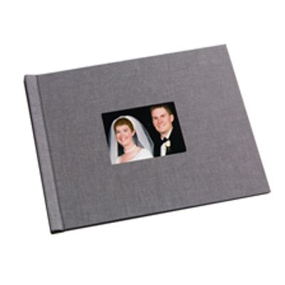 8.5 x 11  Grey Linen Photo Book with Window