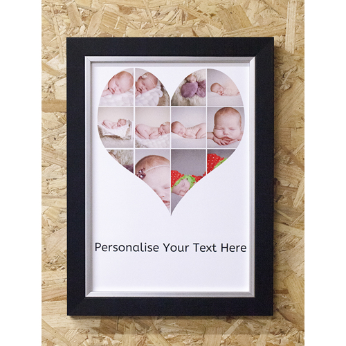 A4 Heart Shaped print with text