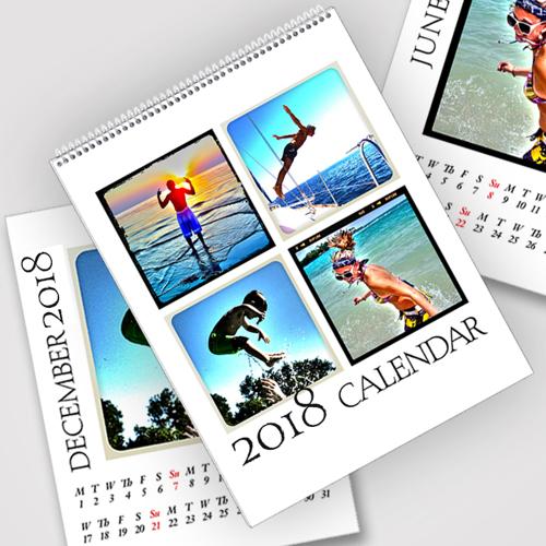 8.5 x 11 White Background 2018 Spiral Calendar
